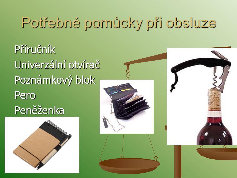 Potřebné pomůcky při obsluze Příručník Univerzální otvírač Poznámkový blok Pero Peněženka
