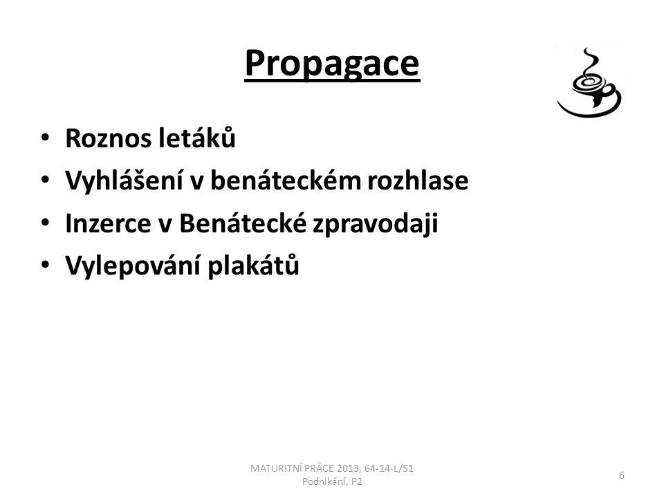 Propagace Roznos letáků Vyhlášení v benáteckém rozhlase Inzerce v Benátecké zpravodaji Vylepování plakátů MATURITNÍ PRÁCE 2013, 64-14-L/51 Podnikání, P2 6
