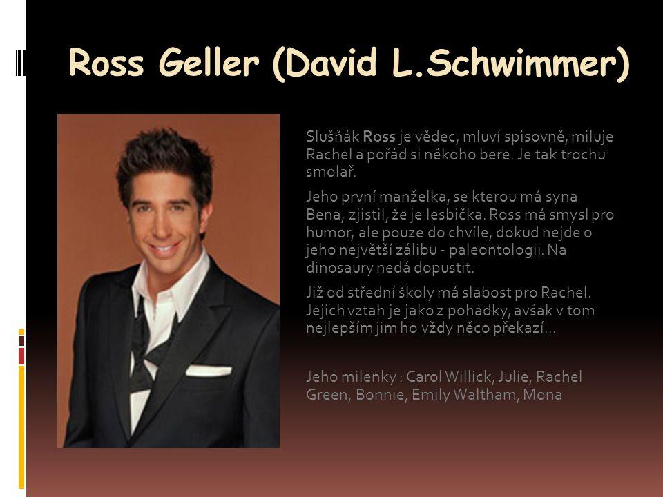Ross Geller (David L.Schwimmer) Slušňák Ross je vědec, mluví spisovně, miluje Rachel a pořád si někoho bere. Je tak trochu smolař. Jeho první manželka