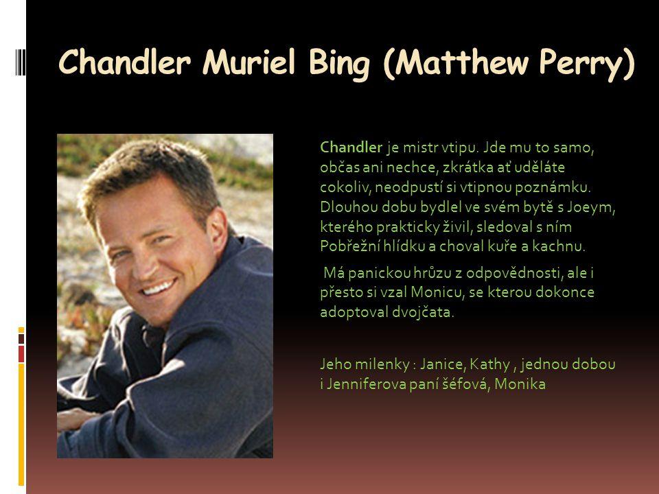 Chandler Muriel Bing (Matthew Perry) Chandler je mistr vtipu. Jde mu to samo, občas ani nechce, zkrátka ať uděláte cokoliv, neodpustí si vtipnou pozná