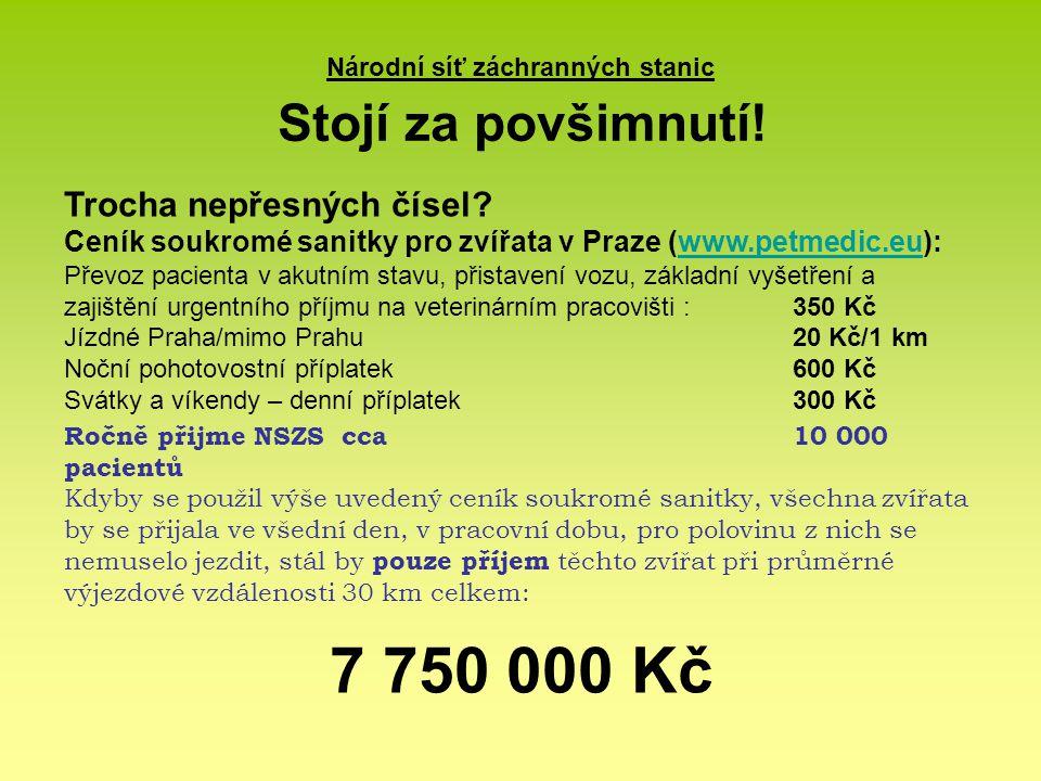 Národní síť záchranných stanic Stojí za povšimnutí! Trocha nepřesných čísel? Ceník soukromé sanitky pro zvířata v Praze (www.petmedic.eu):www.petmedic