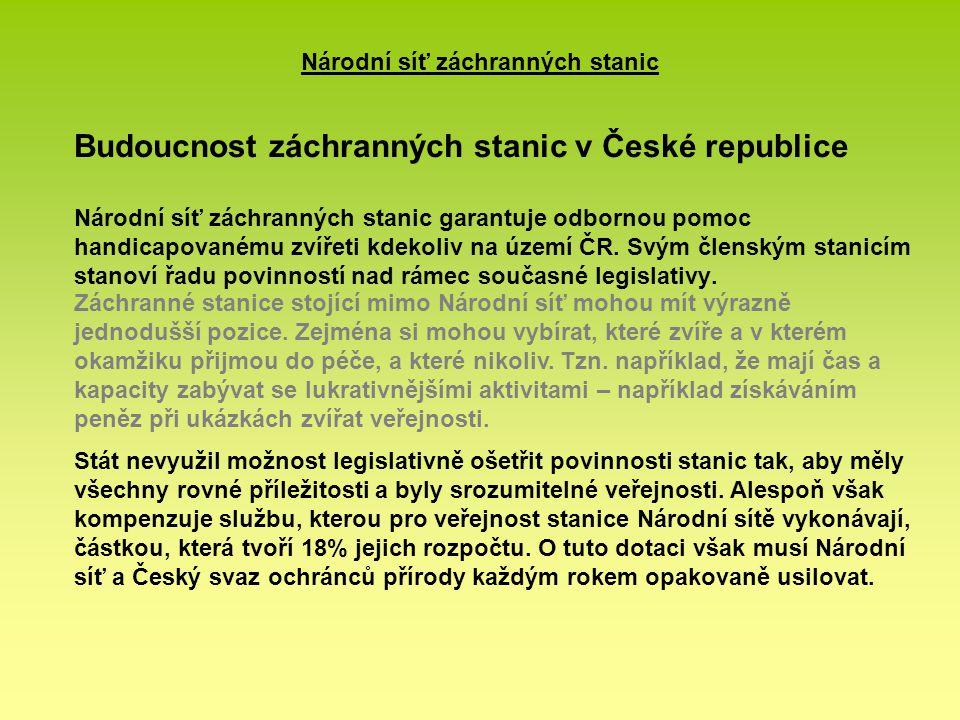 Národní síť záchranných stanic Budoucnost záchranných stanic v České republice Národní síť záchranných stanic garantuje odbornou pomoc handicapovanému