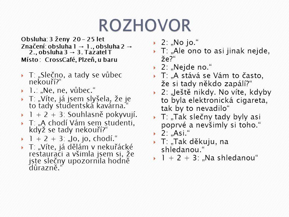 """Obsluha: 3 ženy 20 – 25 let Značení: obsluha 1 → 1., obsluha 2 → 2., obsluha 3 → 3. Tazatel T Místo : CrossCafé, Plzeň, u baru  T: """"Slečno, a tady se"""