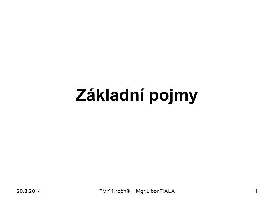 20.8.2014TVY 1.ročník Mgr.Libor FIALA1 Základní pojmy