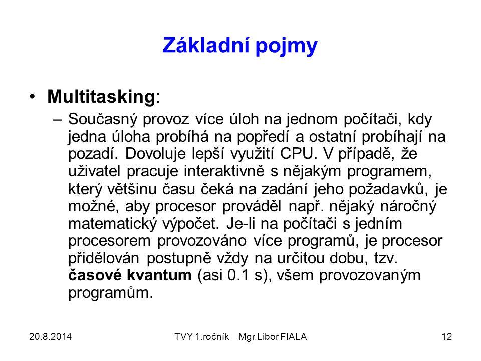 20.8.2014TVY 1.ročník Mgr.Libor FIALA12 Základní pojmy Multitasking: –Současný provoz více úloh na jednom počítači, kdy jedna úloha probíhá na popředí