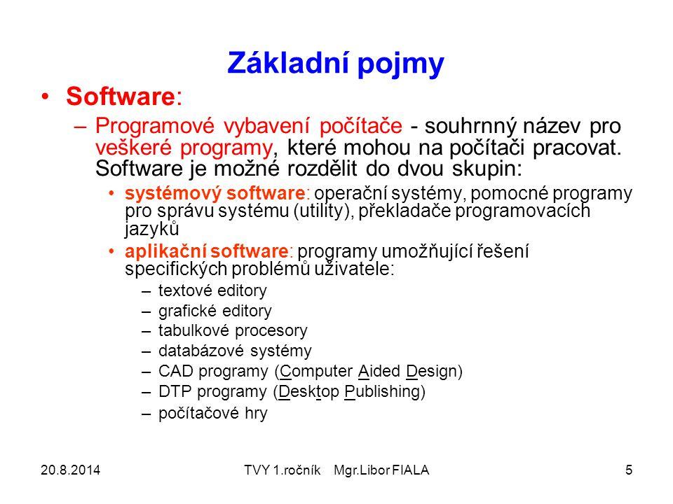 20.8.2014TVY 1.ročník Mgr.Libor FIALA5 Základní pojmy Software: –Programové vybavení počítače - souhrnný název pro veškeré programy, které mohou na počítači pracovat.