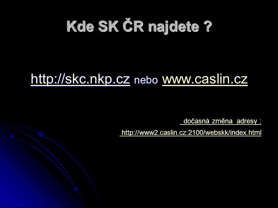Kde SK ČR najdete ? http://skc.nkp.czhttp://skc.nkp.cz nebo http://skc.nkp.cz nebo www.caslin.cz http://skc.nkp.czwww.caslin.cz dočasná změna adresy :