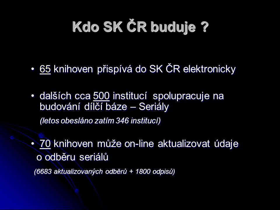 Kdo SK ČR buduje ? 65 knihoven přispívá do SK ČR elektronicky65 knihoven přispívá do SK ČR elektronicky65 dalších cca 500 institucí spolupracuje na bu