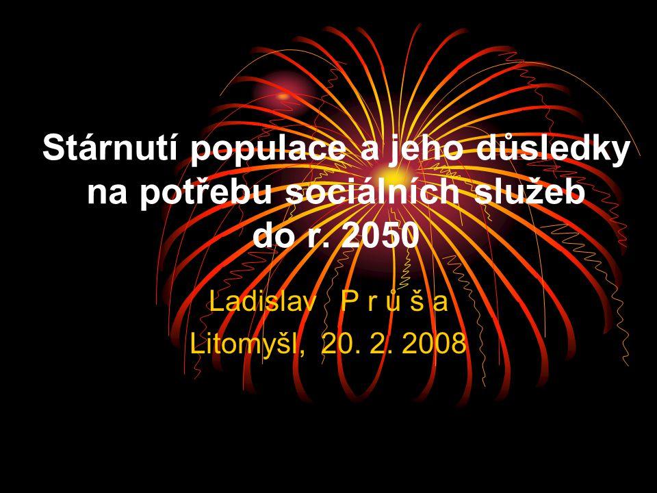 Stárnutí populace a jeho důsledky na potřebu sociálních služeb do r. 2050 Ladislav P r ů š a Litomyšl, 20. 2. 2008