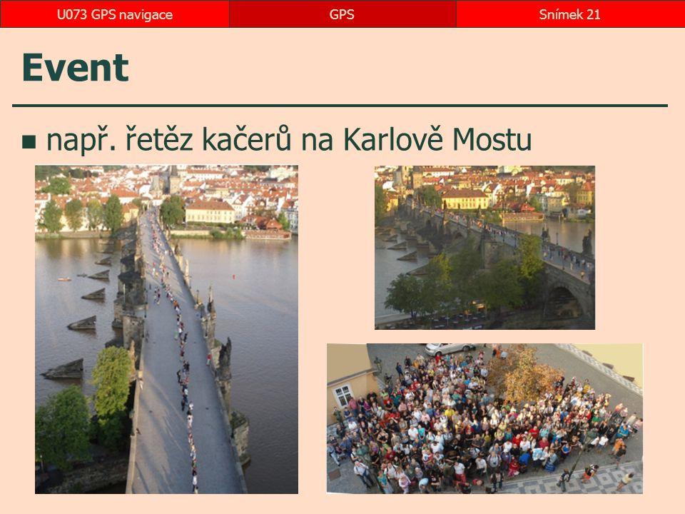 Event např. řetěz kačerů na Karlově Mostu GPSSnímek 21U073 GPS navigace