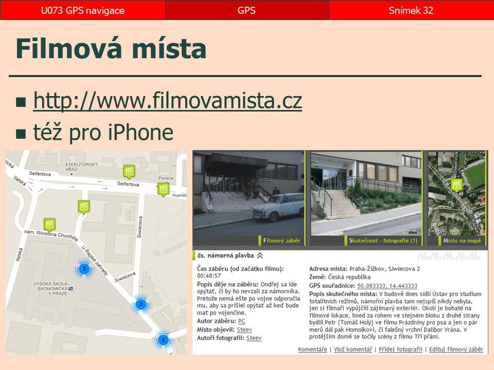 Filmová místa http://www.filmovamista.cz též pro iPhone GPSSnímek 32U073 GPS navigace