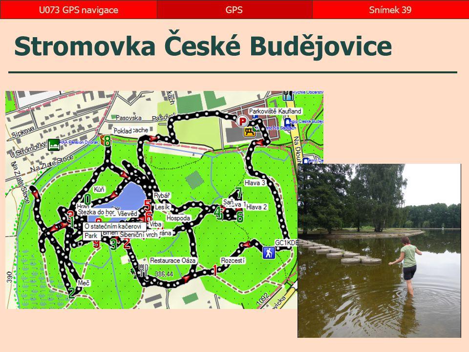 Stromovka České Budějovice GPSSnímek 39U073 GPS navigace