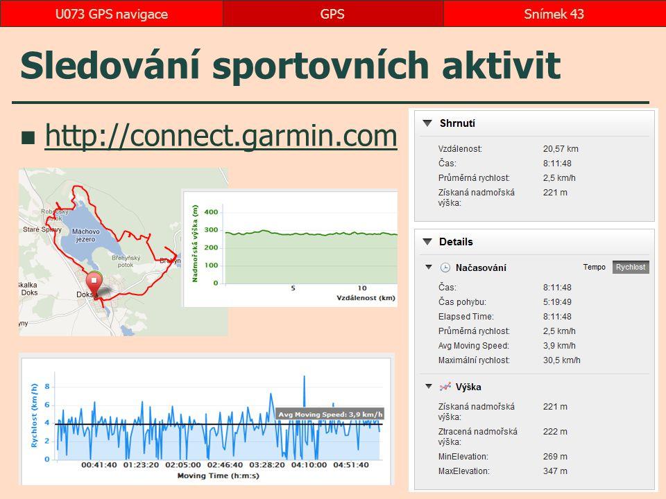 Sledování sportovních aktivit http://connect.garmin.com GPSSnímek 43U073 GPS navigace