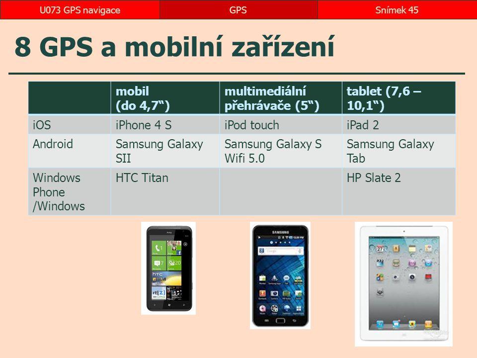 """8 GPS a mobilní zařízení mobil (do 4,7"""") multimediální přehrávače (5"""") tablet (7,6 – 10,1"""") iOSiPhone 4 SiPod touchiPad 2 AndroidSamsung Galaxy SII Sa"""