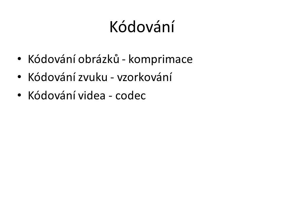 Kódování Kódování obrázků - komprimace Kódování zvuku - vzorkování Kódování videa - codec