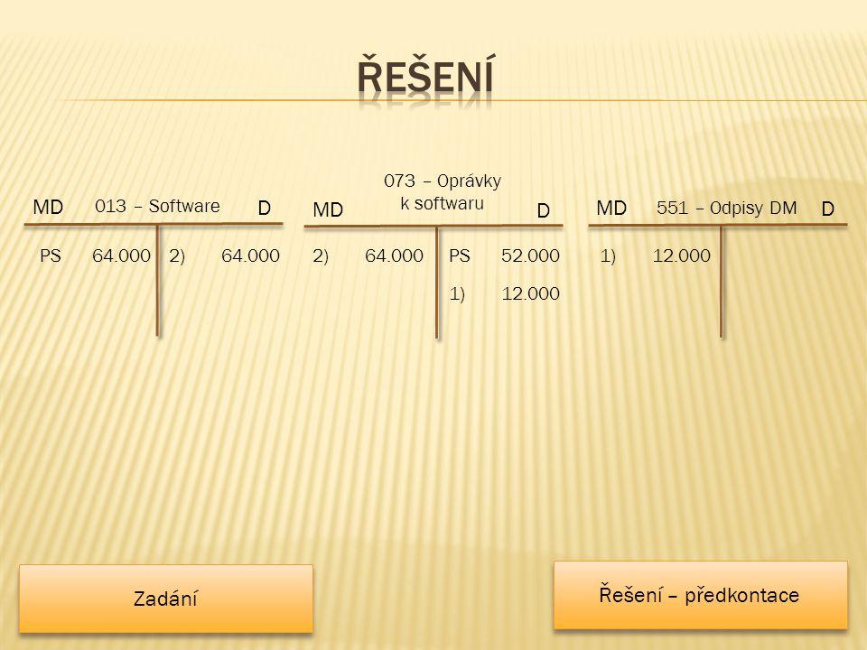 2)64.000 MD 073 – Oprávky k softwaru 2) 64.000 D MD 551 – Odpisy DM D 1)12.000 MD 013 – Software D PS64.000 1)12.000 PS52.000 Řešení – předkontace Zadání