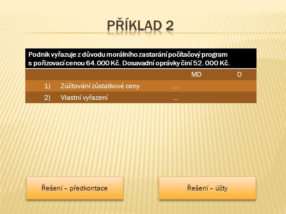 Podnik vyřazuje z důvodu morálního zastarání počítačový program s pořizovací cenou 64.000 Kč.