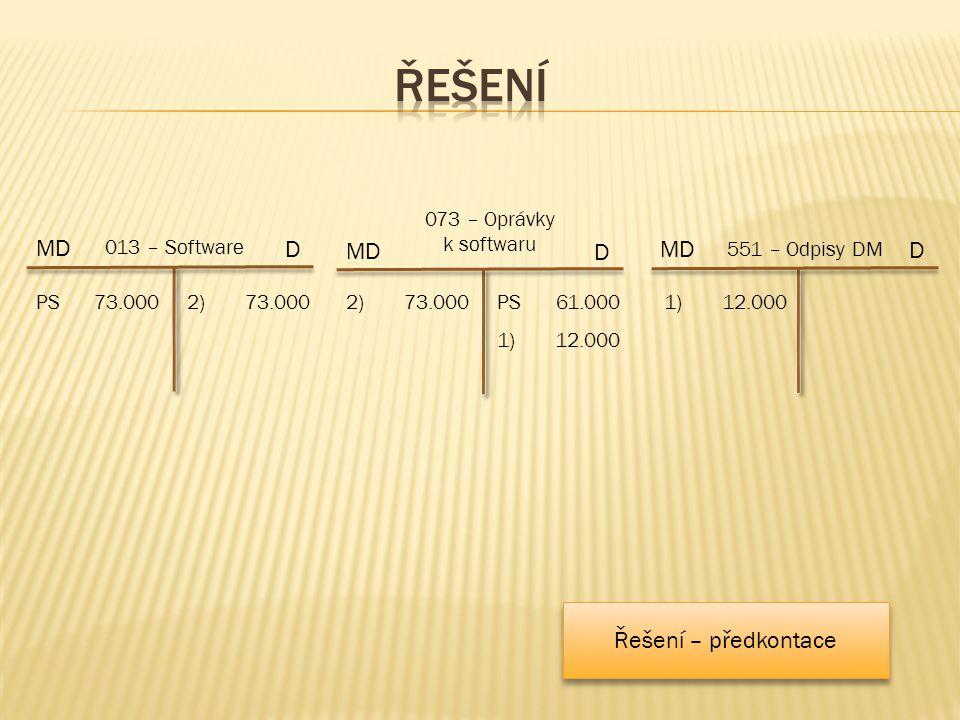 2)73.000 MD 073 – Oprávky k softwaru 2)73.000 D MD 551 – Odpisy DM D 1)12.000 MD 013 – Software D PS73.000 1)12.000 PS61.000 Řešení – předkontace