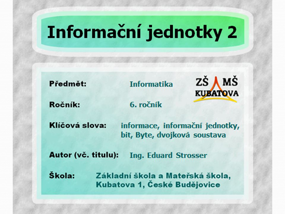 Co je to informace.