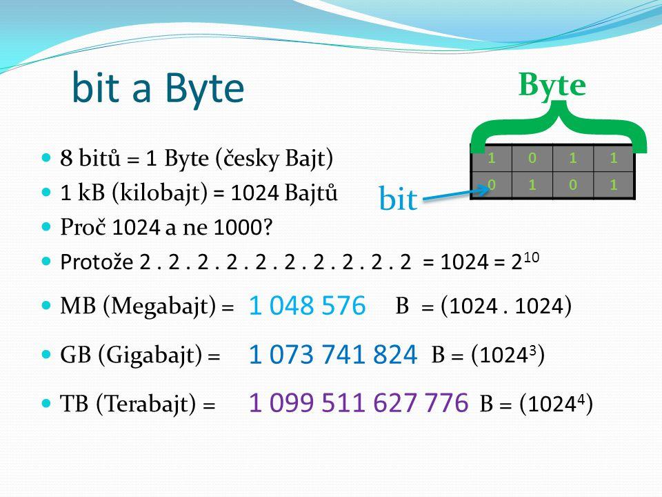 bit a Byte 8 bitů = 1 Byte (česky Bajt) 1 kB (kilobajt) = 1024 Bajtů Proč 1024 a ne 1000.