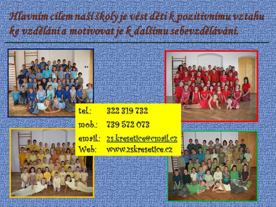 Hlavním cílem naší školy je vést děti k pozitivnímu vztahu ke vzdělání a motivovat je k dalšímu sebevzdělávání.tel.: 322 319 732 mob.: 739 572 073 ema