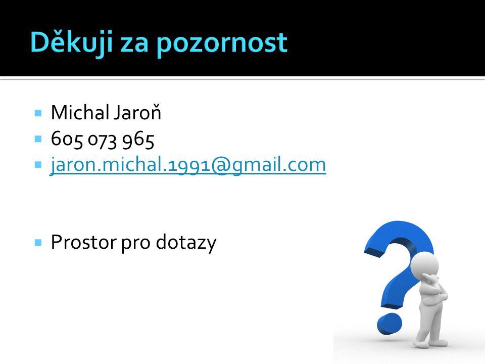  Michal Jaroň  605 073 965  jaron.michal.1991@gmail.com jaron.michal.1991@gmail.com  Prostor pro dotazy