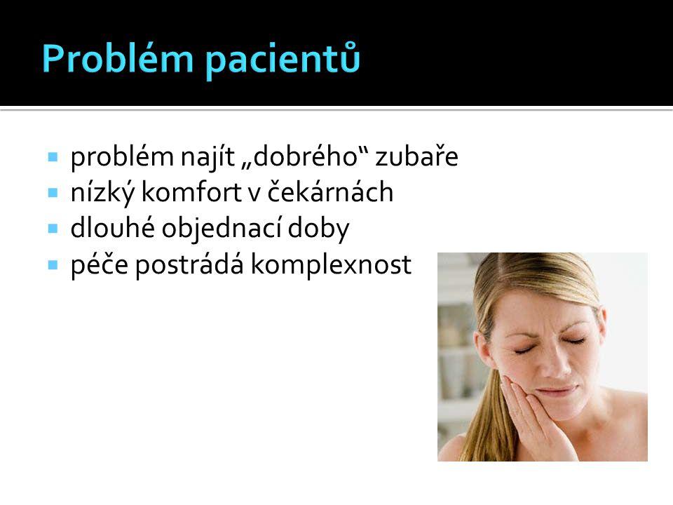 """ problém najít """"dobrého zubaře  nízký komfort v čekárnách  dlouhé objednací doby  péče postrádá komplexnost"""