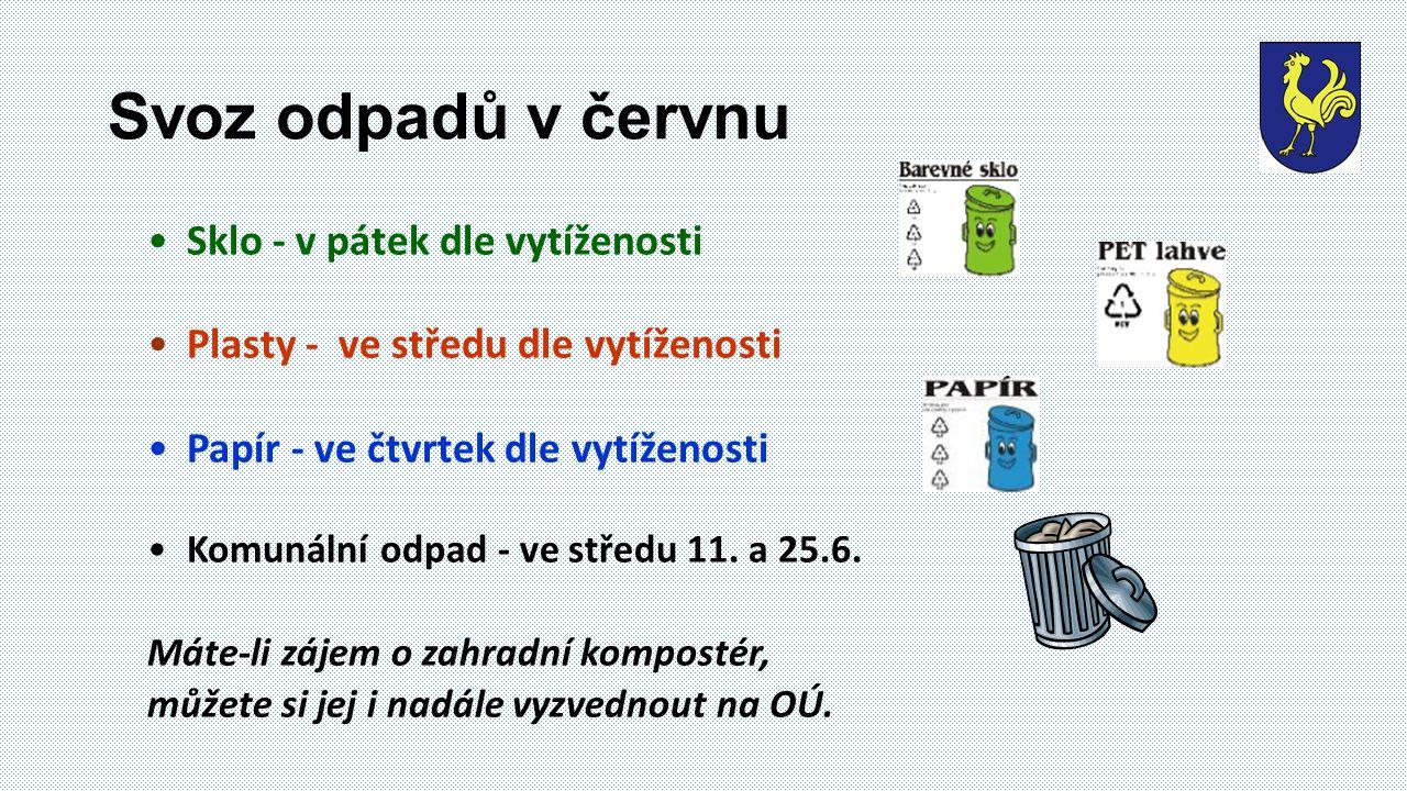 Svoz odpadů v červnu Sklo - v pátek dle vytíženosti Plasty - ve středu dle vytíženosti Papír - ve čtvrtek dle vytíženosti Komunální odpad - ve středu 11.