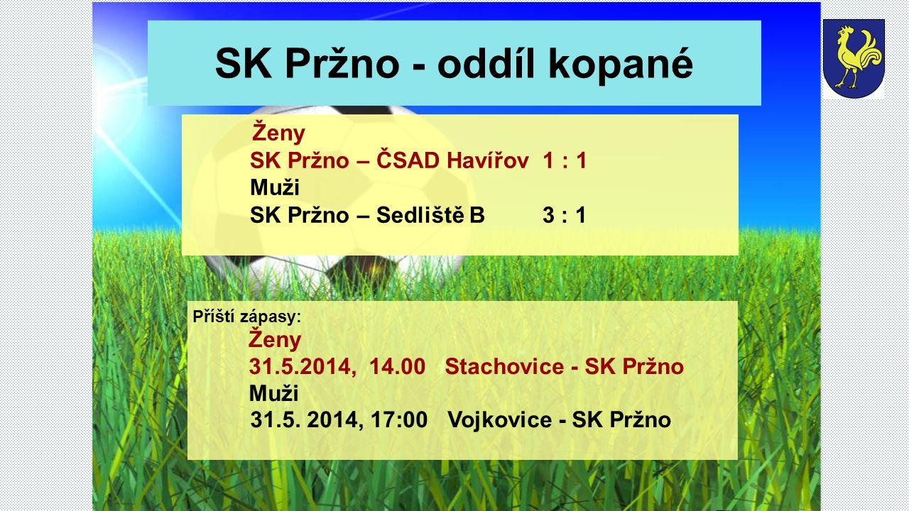 SK Pržno - oddíl kopané Příští zápasy: Ženy 31.5.2014, 14.00 Stachovice - SK Pržno Muži 31.5.