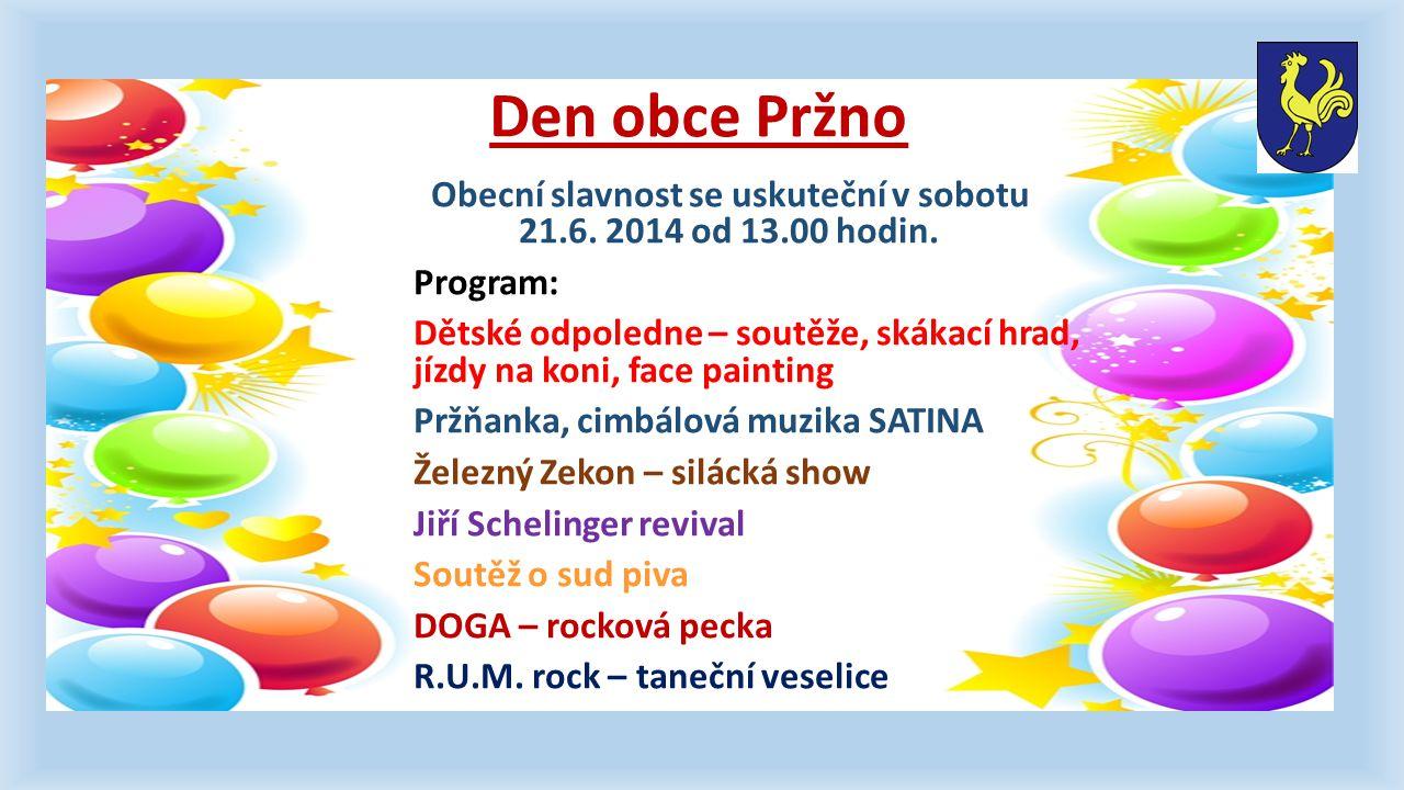Den obce Pržno Obecní slavnost se uskuteční v sobotu 21.6.