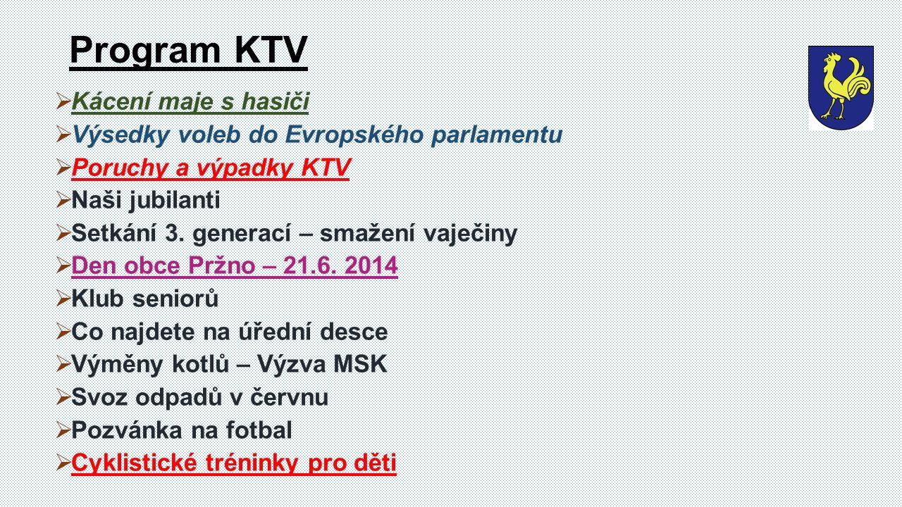  Kácení maje s hasiči  Výsedky voleb do Evropského parlamentu  Poruchy a výpadky KTV  Naši jubilanti  Setkání 3.