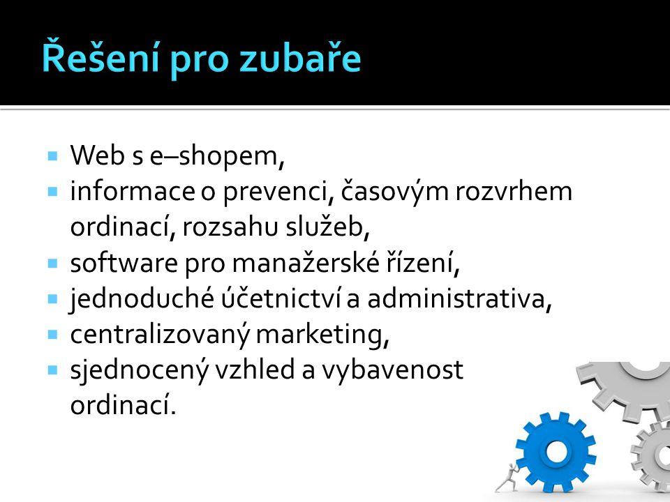  Web s e–shopem,  informace o prevenci, časovým rozvrhem ordinací, rozsahu služeb,  software pro manažerské řízení,  jednoduché účetnictví a admin