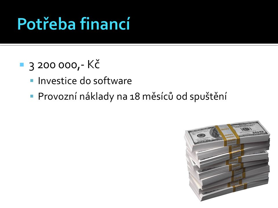  3 200 000,- Kč  Investice do software  Provozní náklady na 18 měsíců od spuštění