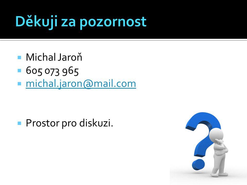  Michal Jaroň  605 073 965  michal.jaron@mail.com michal.jaron@mail.com  Prostor pro diskuzi.