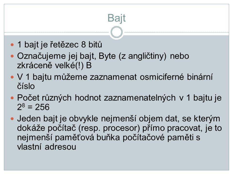 Bajt 1 bajt je řetězec 8 bitů Označujeme jej bajt, Byte (z angličtiny) nebo zkráceně velké(!) B V 1 bajtu můžeme zaznamenat osmiciferné binární číslo