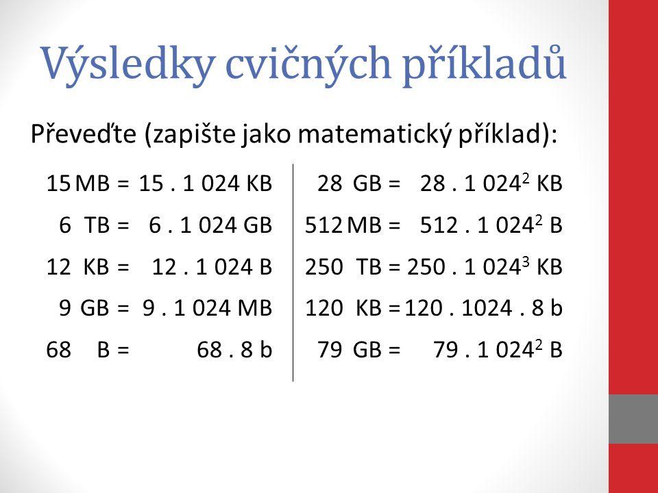 Výsledky cvičných příkladů 15MB=15. 1 024 KB 6TB=6. 1 024 GB 12KB=12. 1 024 B 9GB=9. 1 024 MB 68B=68. 8 b 28GB=28. 1 024 2 KB 512MB=512. 1 024 2 B 250