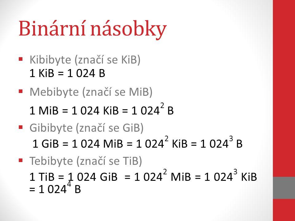 Binární násobky  Kibibyte (značí se KiB) 1 KiB = 1 024 B  Mebibyte (značí se MiB) 1 MiB = 1 024 KiB = 1 024 2 B  Gibibyte (značí se GiB) 1 GiB = 1