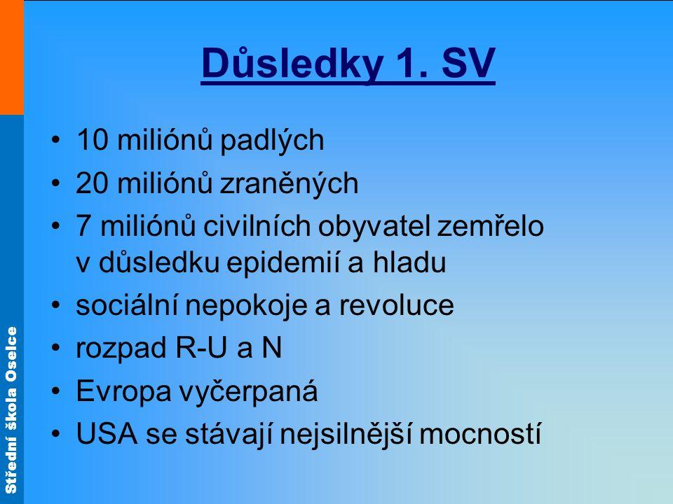 Důsledky 1. SV 10 miliónů padlých 20 miliónů zraněných 7 miliónů civilních obyvatel zemřelo v důsledku epidemií a hladu sociální nepokoje a revoluce r