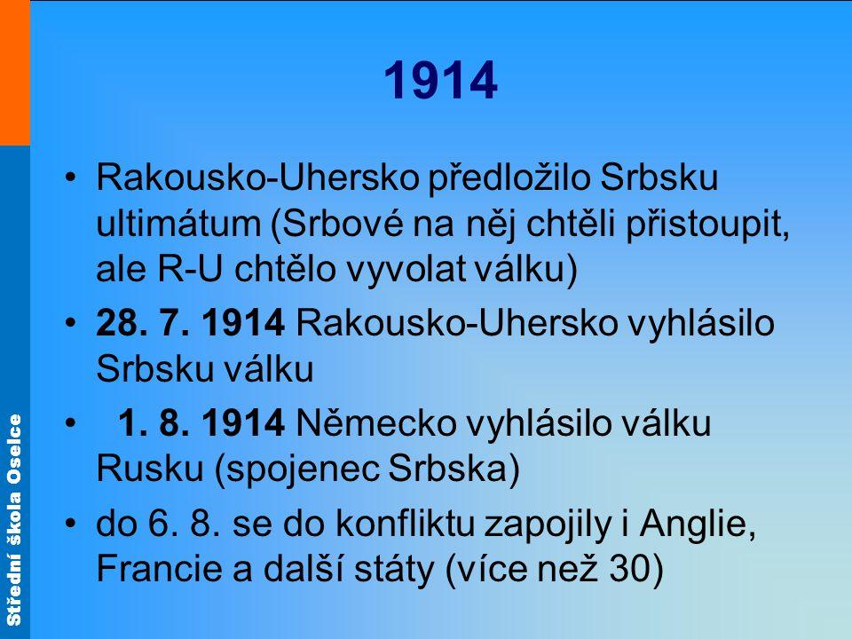1914 Rakousko-Uhersko předložilo Srbsku ultimátum (Srbové na něj chtěli přistoupit, ale R-U chtělo vyvolat válku) 28. 7. 1914 Rakousko-Uhersko vyhlási