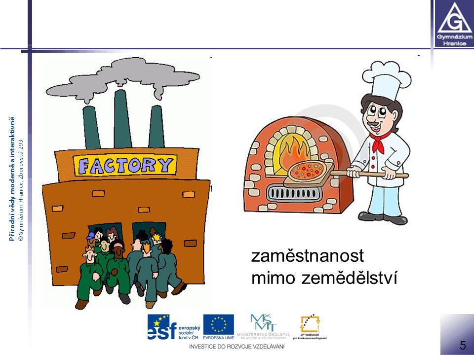 Přírodní vědy moderně a interaktivně ©Gymnázium Hranice, Zborovská 293 zaměstnanost mimo zemědělství 5