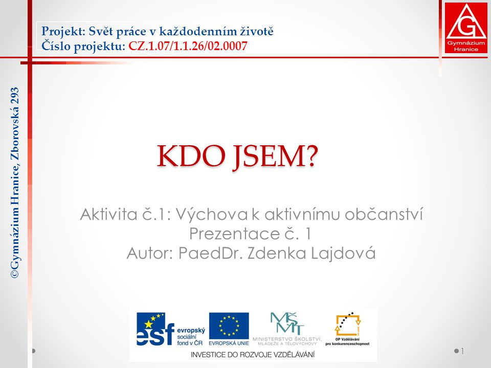 KDO JSEM.Aktivita č.1: Výchova k aktivnímu občanství Prezentace č.