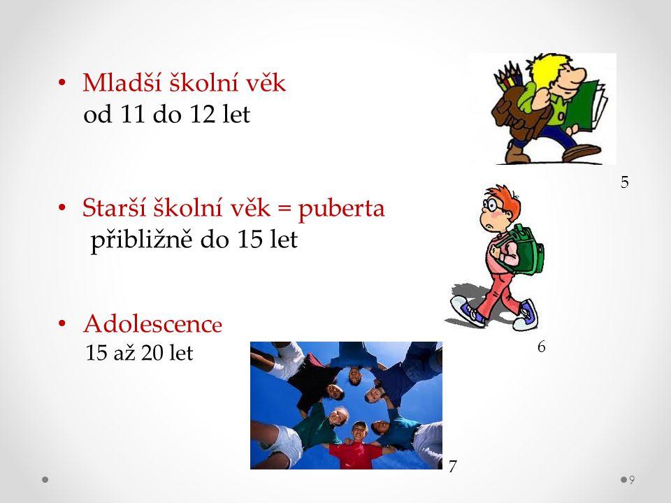 9 Mladší školní věk od 11 do 12 let Starší školní věk = puberta přibližně do 15 let Adolescenc e 15 až 20 let 6 7 5