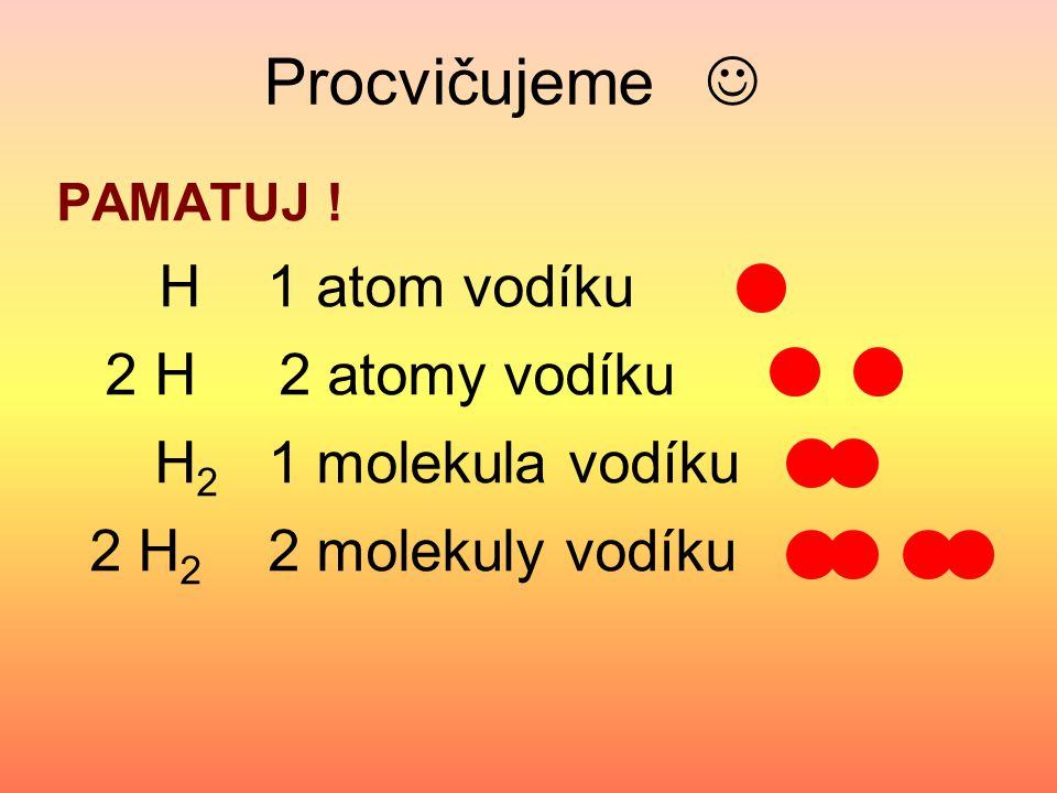 Zapiš podle vzoru: O 2 1 molekula kyslíku 2 N Cl 2 2 N 2 O 3 4 H 2 O 2 S 8 2 Fe 5 He 3 NH 3