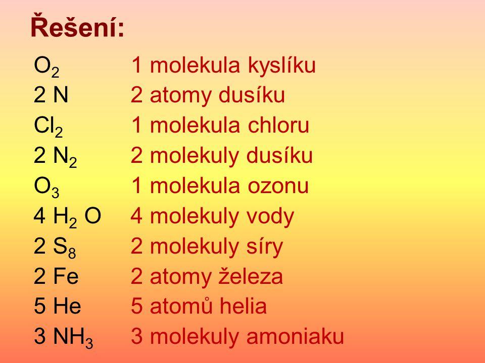 Řešení: O 2 1 molekula kyslíku 2 N2 atomy dusíku Cl 2 1 molekula chloru 2 N 2 2 molekuly dusíku O 3 1 molekula ozonu 4 H 2 O4 molekuly vody 2 S 8 2 molekuly síry 2 Fe2 atomy železa 5 He5 atomů helia 3 NH 3 3 molekuly amoniaku
