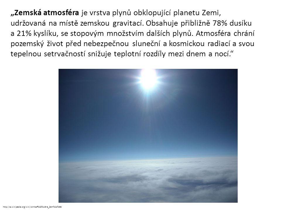 """""""Zemská atmosféra je vrstva plynů obklopující planetu Zemi, udržovaná na místě zemskou gravitací. Obsahuje přibližně 78% dusíku a 21% kyslíku, se stop"""