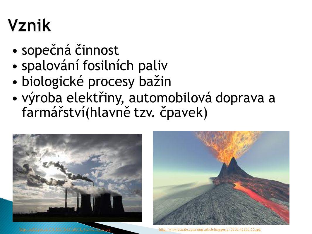 sopečná činnost spalování fosilních paliv biologické procesy bažin výroba elektřiny, automobilová doprava a farmářství(hlavně tzv.