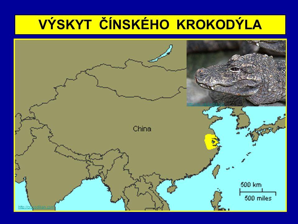 VÝSKYT ČÍNSKÉHO KROKODÝLA http://crocodilian.com http://en.wikipedia.org