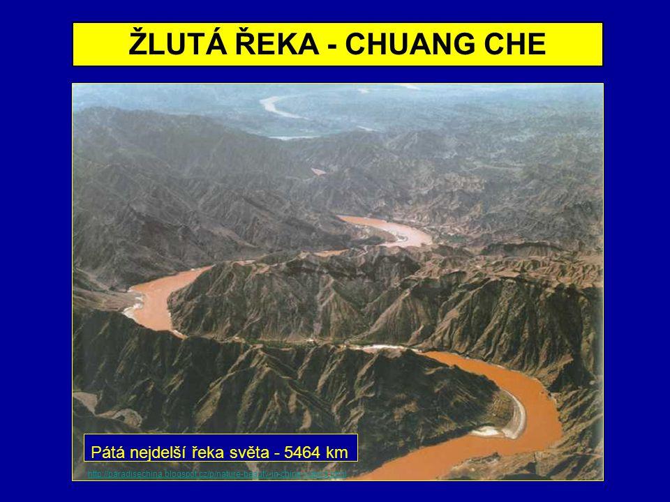 DELTA ŽLUTÉ ŘEKY - ŽLUTÉ MOŘE Satelitní snímek zachycuje typické žluté zbarvení řeky i moře, které způsobuje sprašové podloží povodí.