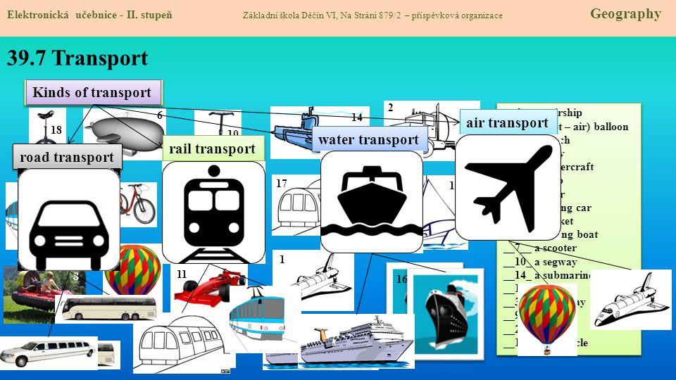 39.7 Transport Elektronická učebnice - II. stupeň Základní škola Děčín VI, Na Stráni 879/2 – příspěvková organizace Geography _____ an airship _____ a