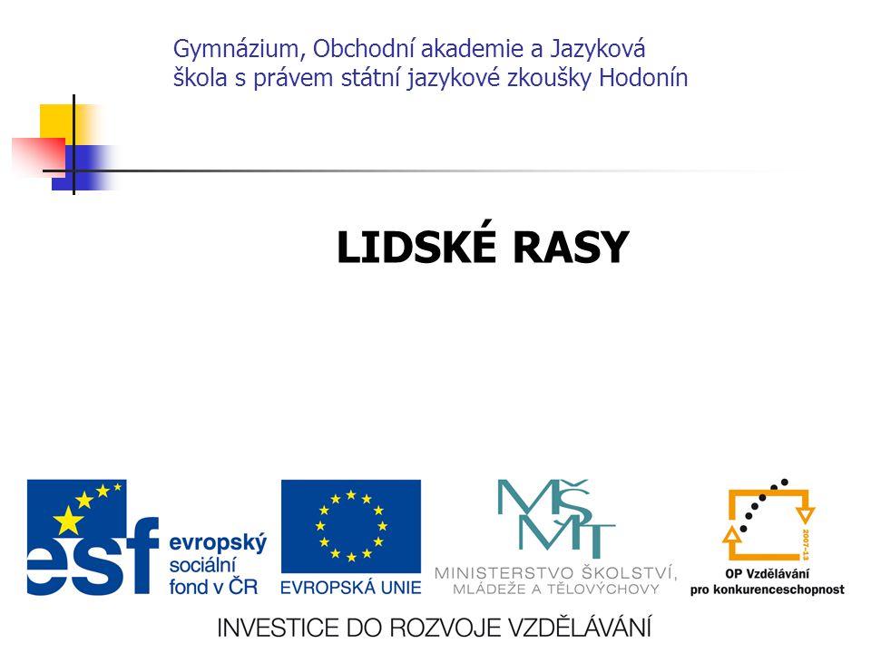 Gymnázium, Obchodní akademie a Jazyková škola s právem státní jazykové zkoušky Hodonín LIDSKÉ RASY